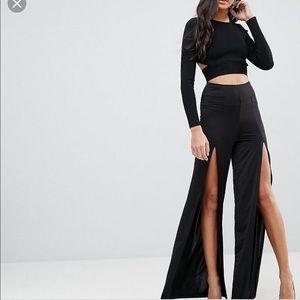 ASOS | Black Slinky Wide Leg Thigh High Splits 8